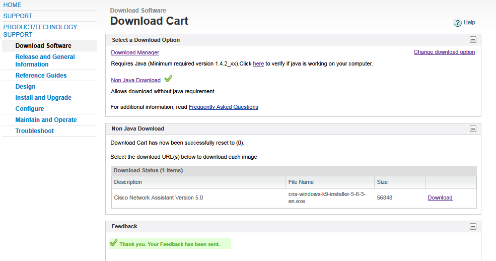 Cisco download page screenshot, Cisco turns a simple download of one click into two clicks plus unnecessary reading