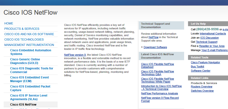 screenshot of the Netflow information page on Cisco.com