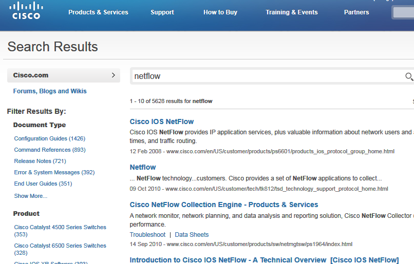 search page results for Cisco Netflow