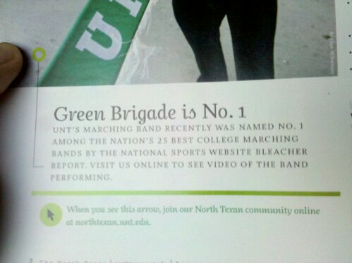 UNT Green Brigade Marching band rated Number 1 by The Bleacher Report, www.northtexan.unt.edu