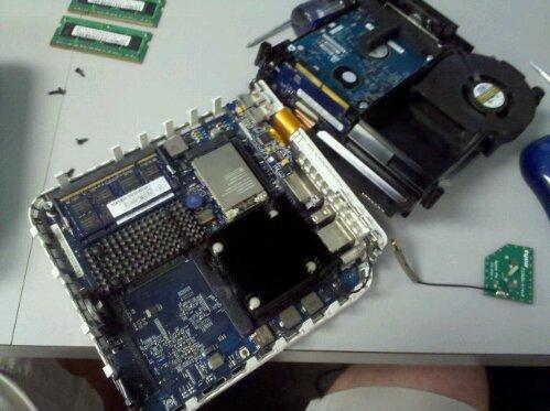 inside of an Apple Mac Mini, upgrading or replacing the RAM memory