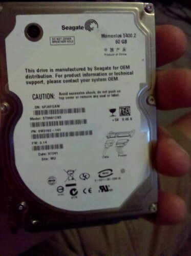 OEM Seagate 60GB 2.5 inch laptop hard drive from a Sony PS3 Playstation