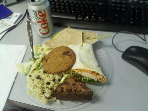 free lunch at work for pioneers of science, cranberry couscous, wraps, orange zest bowtie pasta, brownie, cookie, diet Coke