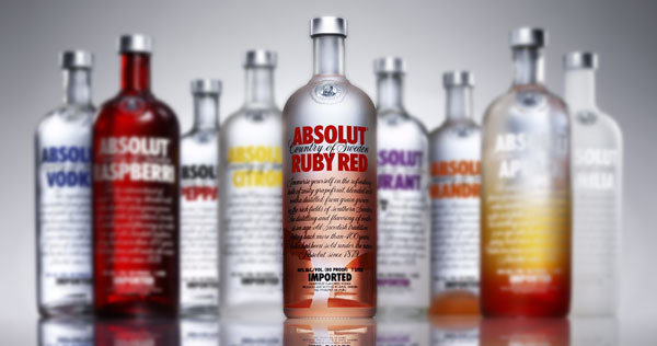 Absolut Vodka family of flavors with Ruby Red in the foreground.