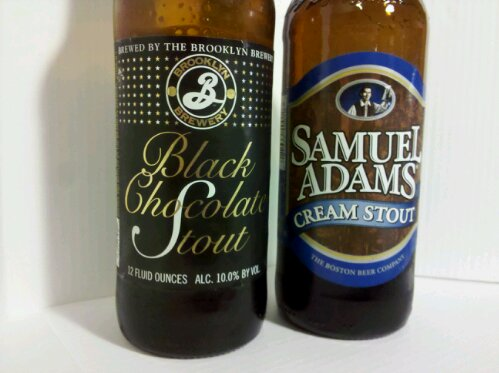 Sam Adams and Brookly Brewery Stouts, Cream Stout and Black Chocolate Stout
