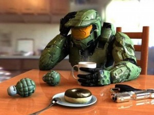 Master Chief from Halo having coffee and donuts at the breakfast table