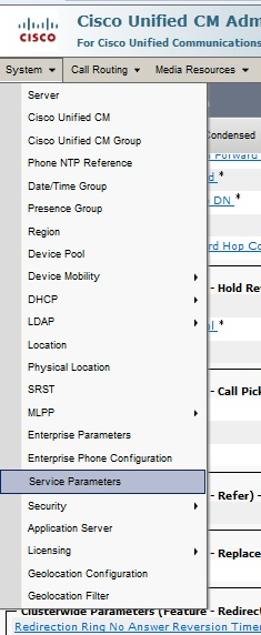 Cisco Unity CM Administration 8 Service Parameters to configure Call Forward No Answer
