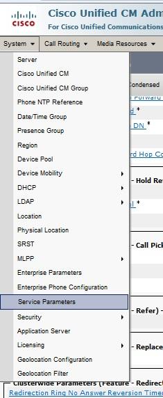 Cisco Unity CM Administration 8 Service Parameters to configure Call Forward No Answer